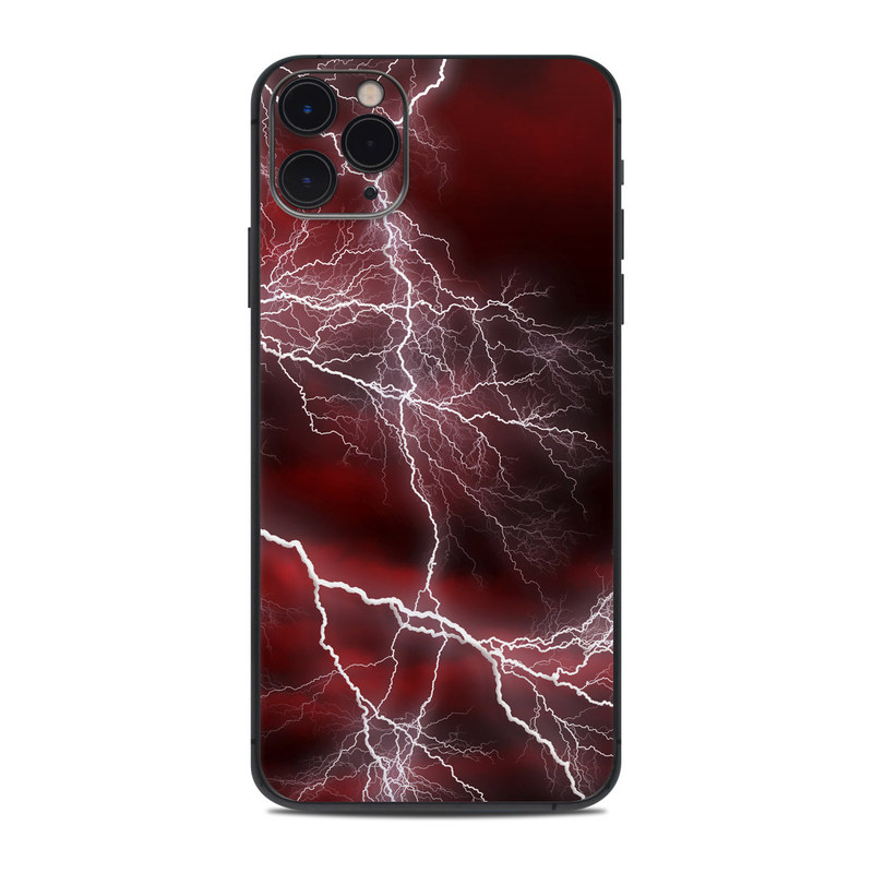 iPhone 11 Pro Max Skin design of Thunder, Thunderstorm, Lightning, Red, Nature, Sky, Atmosphere, Geological phenomenon, Lighting, Atmospheric phenomenon with red, black, white colors