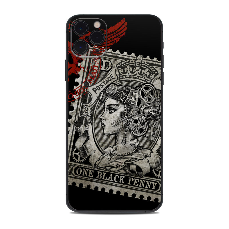 iPhone 11 Pro Max Skin design of Font, Postage stamp, Illustration, Drawing, Art with black, gray, red colors