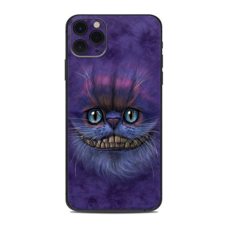 iPhone 11 Pro Max Skin design of Cat, Whiskers, Felidae, Small to medium-sized cats, Snout, Eye, Illustration, Ojos azules, Black cat, Carnivore with purple, blue colors