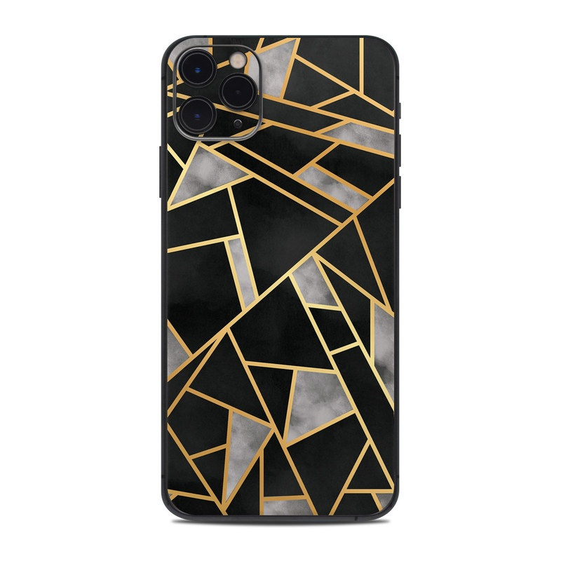 iPhone 11 Pro Max Skin design of Pattern, Triangle, Yellow, Line, Tile, Floor, Design, Symmetry, Architecture, Flooring with black, gray, yellow colors