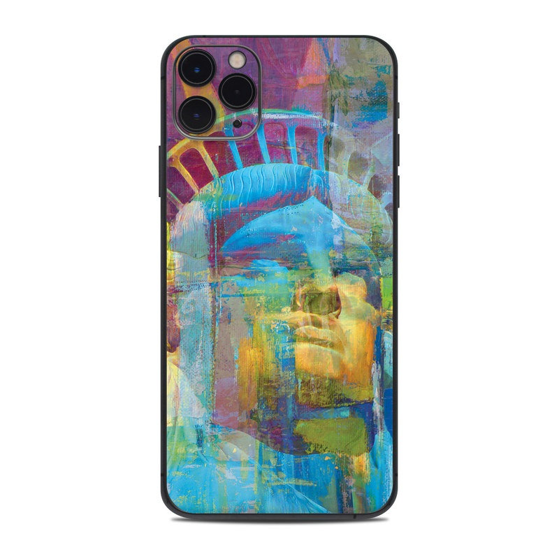 iPhone 11 Pro Max Skin design of Modern art, Painting, Art, Visual arts, Psychedelic art, Acrylic paint, Paint, Graphics, Artist with blue, yellow, pink, orange, purple, green colors
