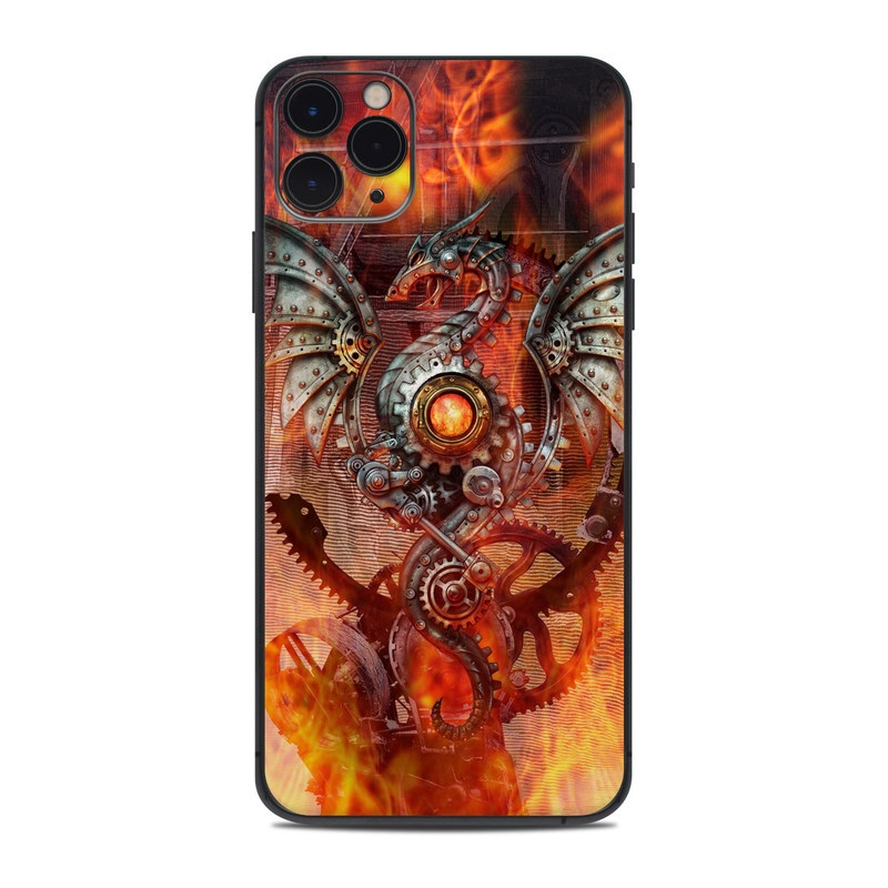 iPhone 11 Pro Max Skin design of Dragon, Demon, Cg artwork, Illustration, Fictional character, Fractal art, Flame, Art, Mythology, Supernatural creature with red, black, orange, pink, green colors