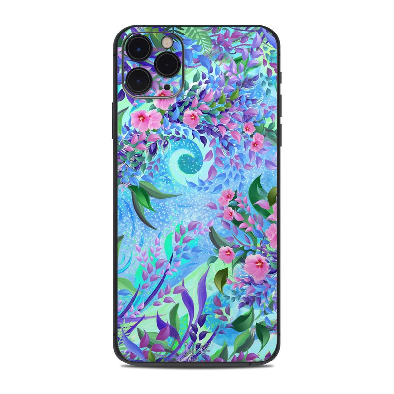 iPhone 11 Pro Max Skin design of Psychedelic art, Pattern, Lilac, Purple, Art, Pink, Design, Fractal art, Visual arts, Organism with gray, blue, purple colors