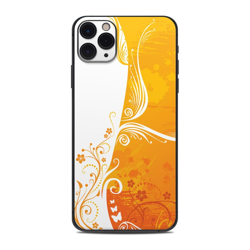 iPhone 11 Pro Max Skin design of Orange, Yellow, Pattern, Amber, Design, Ornament, Floral design, Graphics, Graphic design, Visual arts with orange, white, red, pink, yellow colors