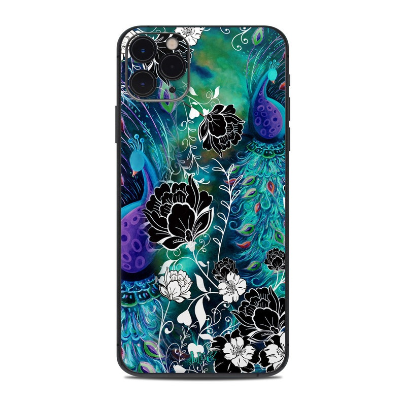 iPhone 11 Pro Max Skin design of Pattern, Psychedelic art, Organism, Turquoise, Purple, Graphic design, Art, Design, Illustration, Fractal art with black, blue, gray, green, white colors