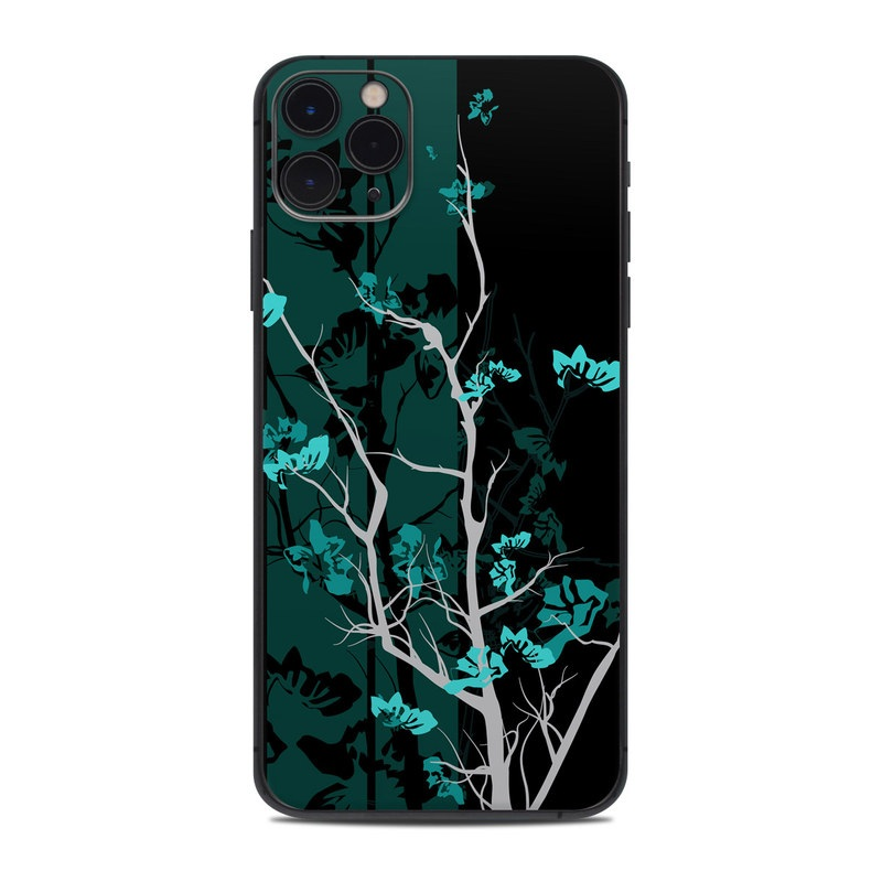 iPhone 11 Pro Max Skin design of Branch, Black, Blue, Green, Turquoise, Teal, Tree, Plant, Graphic design, Twig with black, blue, gray colors