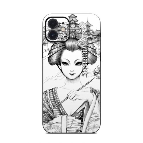 Geisha Sketch iPhone 12 Skin