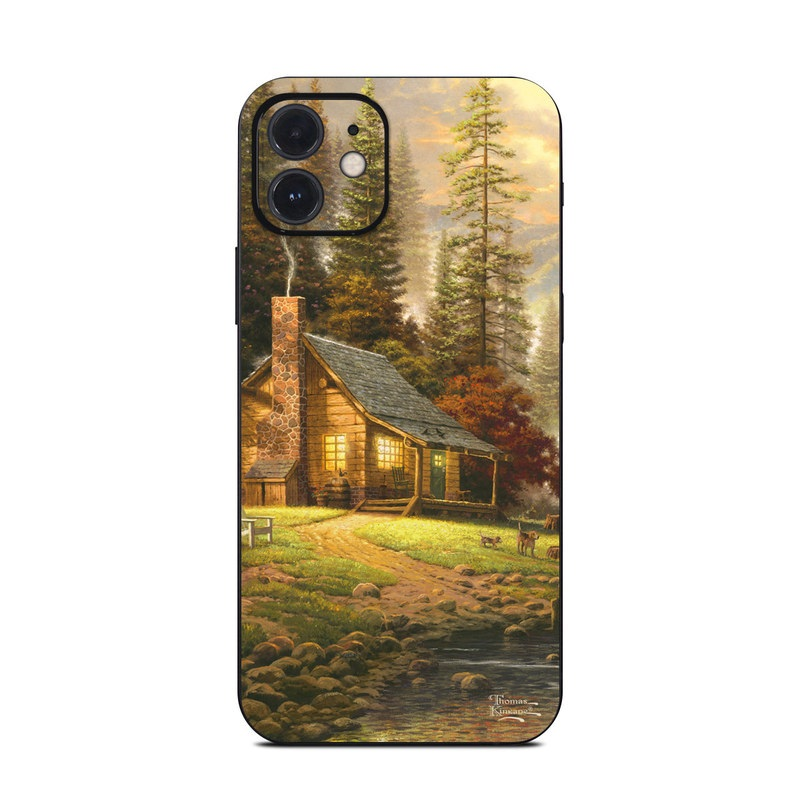 iPhone 12 Skin design of Natural landscape, Nature, Painting, Tree, Landscape, Morning, Sky, Biome, Sunlight, Forest with orange, red, green, brown colors