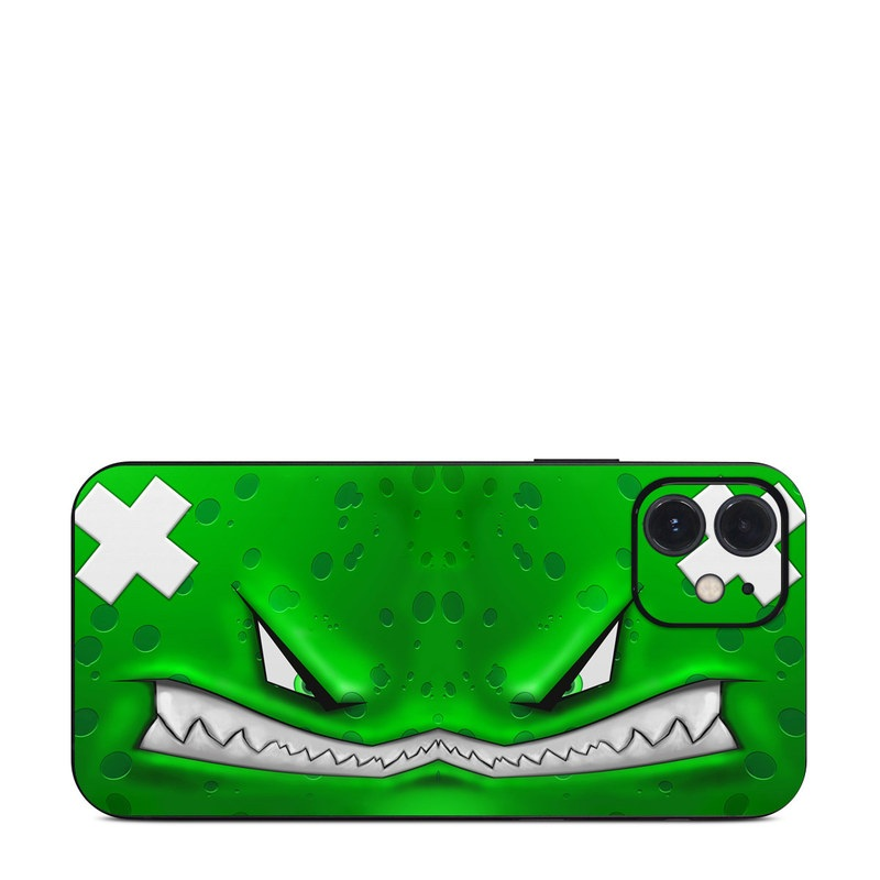 iPhone 12 Skin design of Green, Font, Animation, Logo, Graphics, Games with green, white colors
