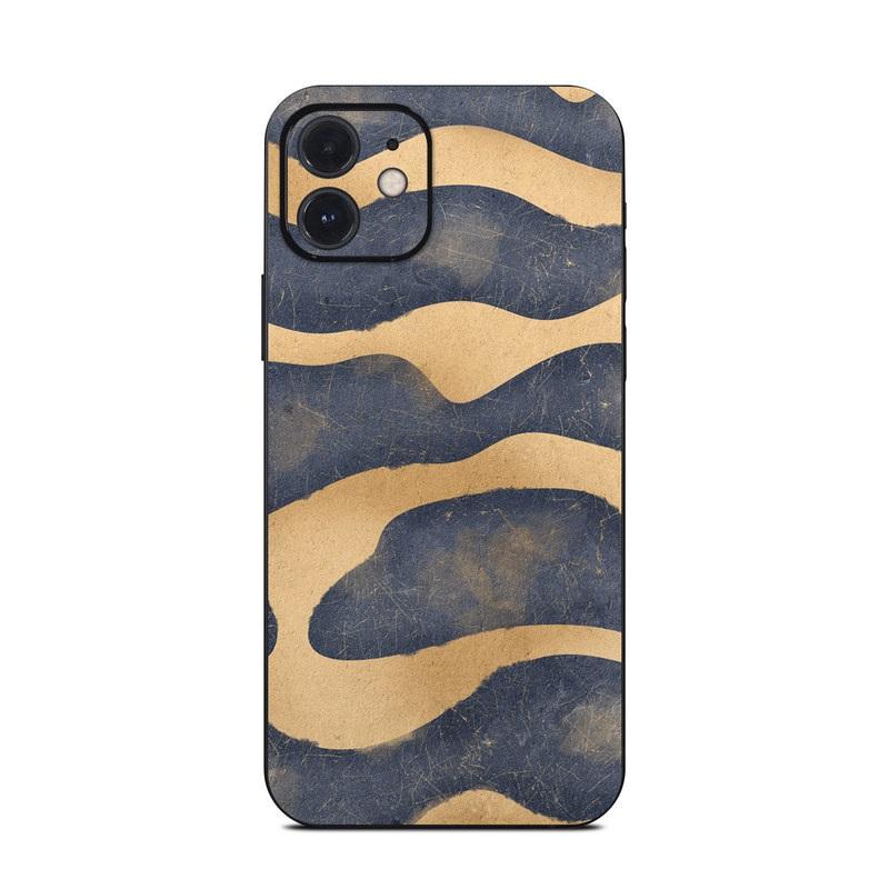 iPhone 12 Skin design of Art, Painting, Pattern, Font, Landscape, Dune, Illustration, Aeolian landform, Sand, Visual arts with blue, brown colors