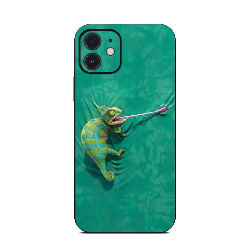 iPhone 12 Skin design of Green, Fish, Tail, Chameleon with blue, black, green, gray colors