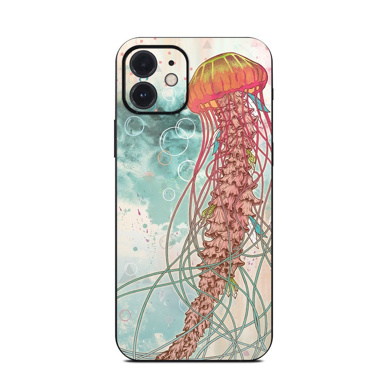 iPhone 12 Skin design of Jellyfish, Illustration, Water, Cnidaria, Marine invertebrates, Organism, Portuguese man o' war, Art, Nepenthes, Invertebrate with gray, pink, yellow, red, green colors