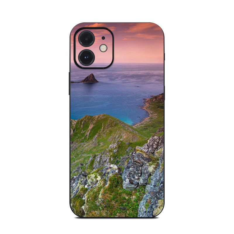 iPhone 12 Skin design of Body of water, Nature, Sky, Coast, Sea, Headland, Natural landscape, Promontory, Coastal and oceanic landforms, Cliff with red, orange, green, blue, yellow colors