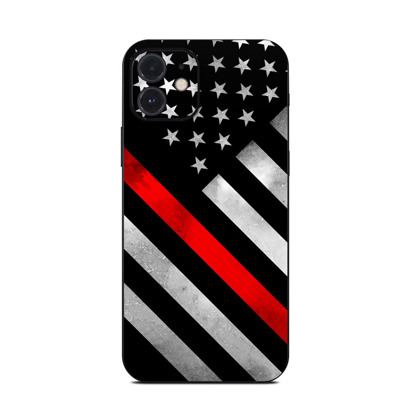 iPhone 12 Skin design of Flag of the united states, Flag, Line, Black-and-white, Pattern, Flag Day (USA), Veterans day, Independence day, Memorial day with black, white, gray, red colors