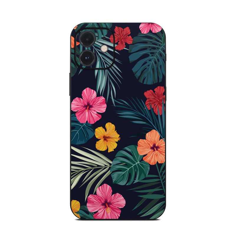 iPhone 12 Skin design of Hawaiian hibiscus, Flower, Pattern, Plant, Leaf, Floral design, Botany, Design, Hibiscus, Petal with black, green, red, pink, orange, yellow, white colors