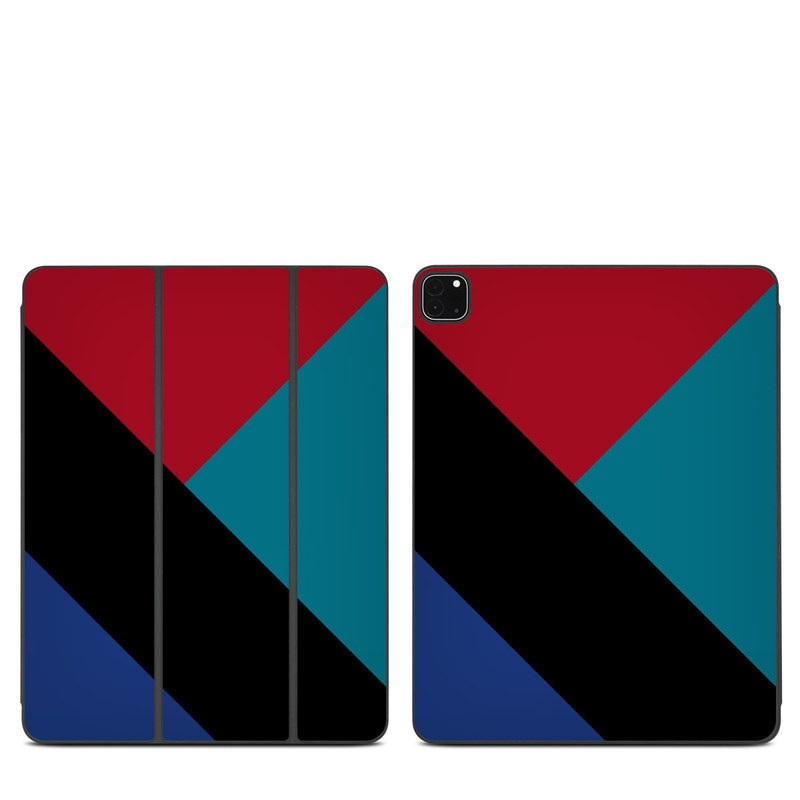 iPad Pro 12.9-inch Smart Folio Skin design of Blue, Green, Turquoise, Azure, Teal, Electric blue, Line, Pattern, Design, Graphic design with black, blue, red colors