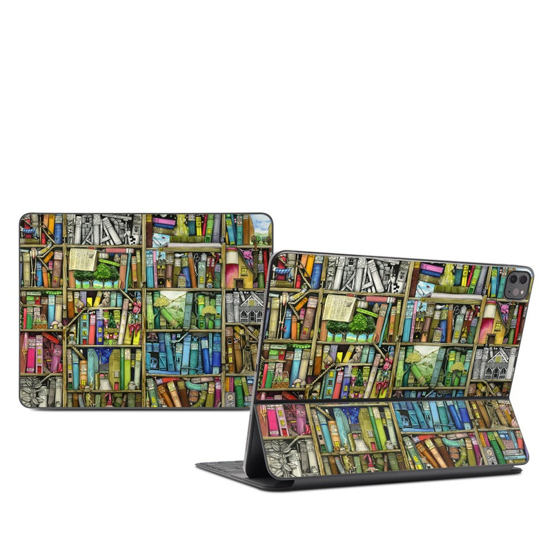 iPad Pro 12.9-inch Smart Keyboard Folio Skin design of Collection, Art, Visual arts, Bookselling, Shelving, Painting, Building, Shelf, Publication, Modern art with brown, green, blue, red, pink colors