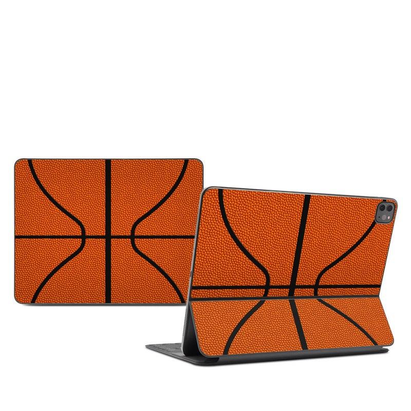 iPad Pro 12.9-inch Smart Keyboard Folio Skin design of Orange, Basketball, Line, Pattern, Sport venue, Brown, Yellow, Design, Net, Team sport with orange, black colors