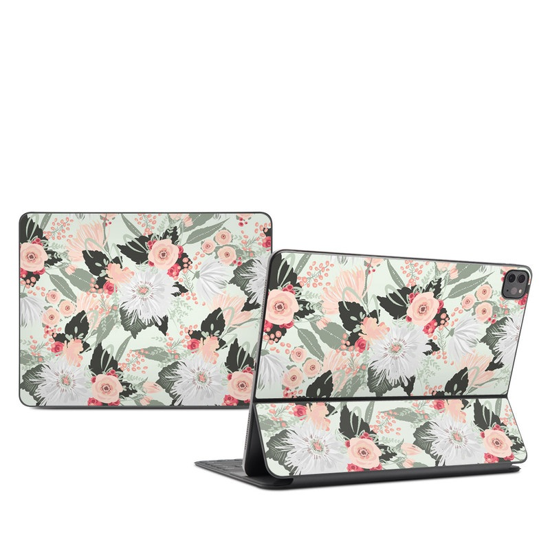 iPad Pro 12.9-inch Smart Keyboard Folio Skin design of Pattern, Pink, Floral design, Design, Textile, Wrapping paper, Plant, Peach, Flower with green, red, white, pink colors