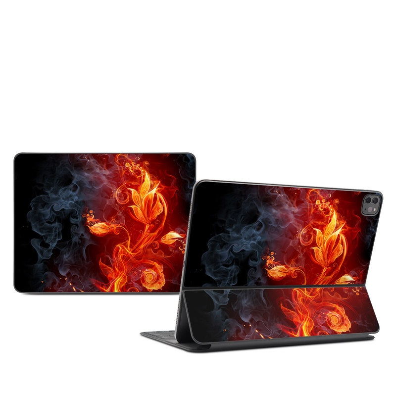 iPad Pro 12.9-inch Smart Keyboard Folio Skin design of Flame, Fire, Heat, Red, Orange, Fractal art, Graphic design, Geological phenomenon, Design, Organism with black, red, orange colors