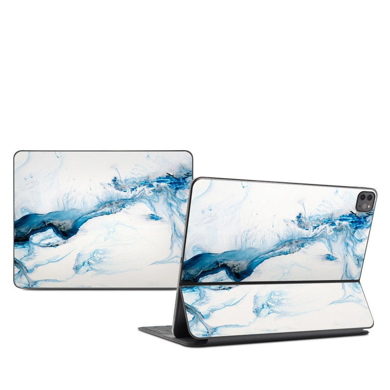 iPad Pro 12.9-inch Smart Keyboard Folio Skin design of Glacial landform, Blue, Water, Glacier, Sky, Arctic, Ice cap, Watercolor paint, Drawing, Art with white, blue, black colors