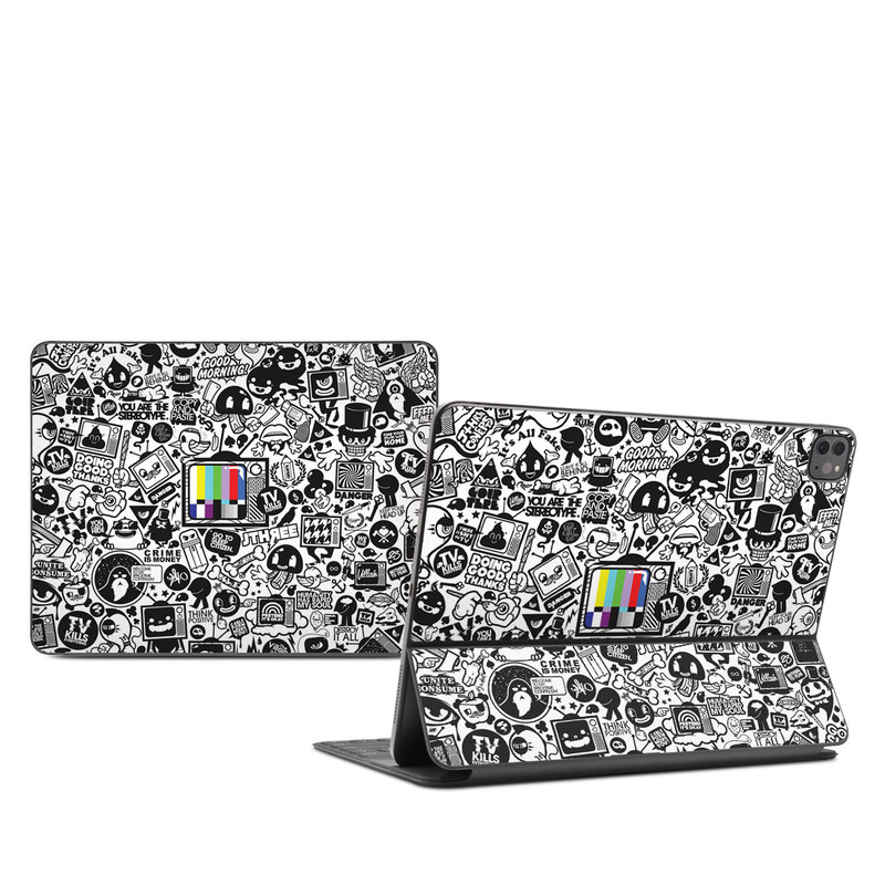 iPad Pro 12.9-inch Smart Keyboard Folio Skin design of Pattern, Drawing, Doodle, Design, Visual arts, Font, Black-and-white, Monochrome, Illustration, Art with gray, black, white colors