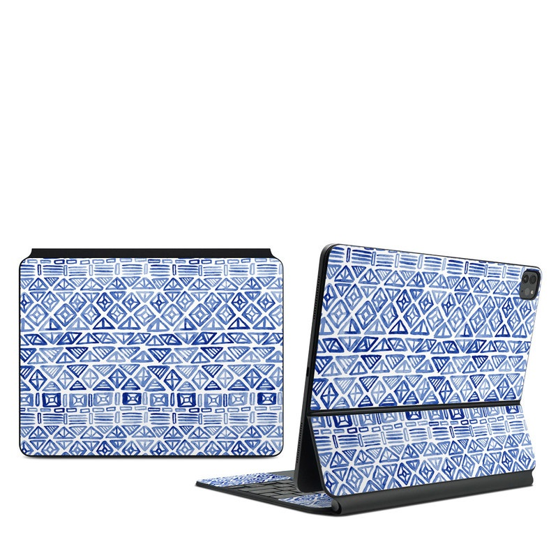 iPad Pro 12.9-inch Magic Keyboard Skin design of Pattern, Line, Design, Symmetry, Visual arts, Parallel with white, blue colors