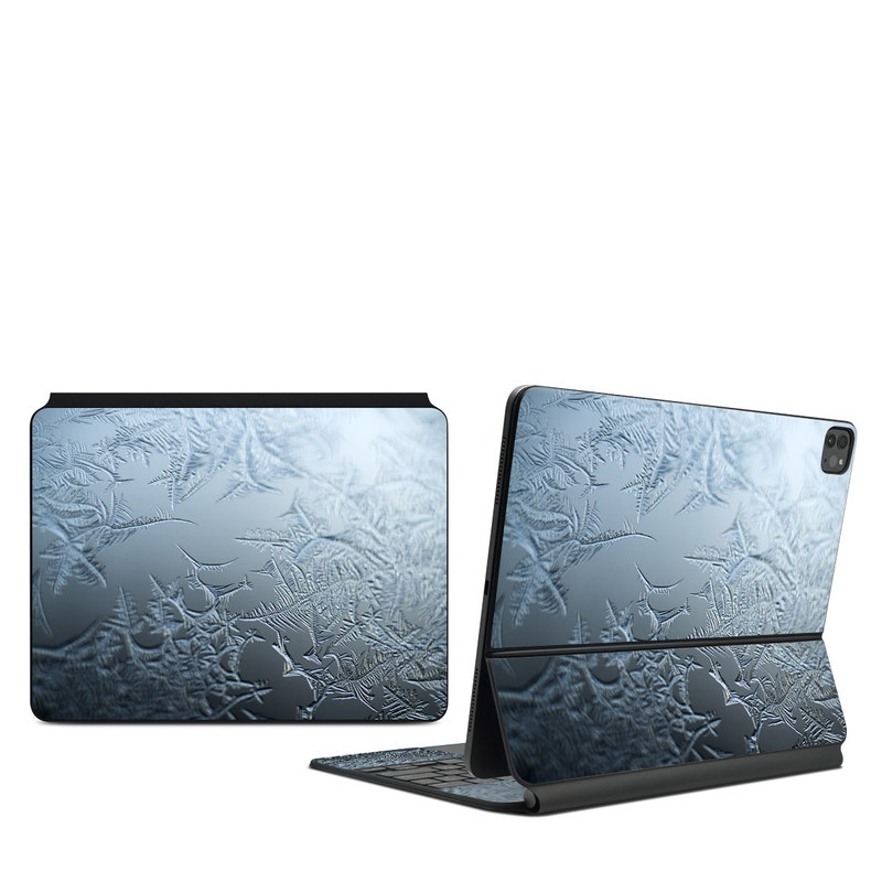 iPad Pro 12.9-inch Magic Keyboard Skin design of Water, Frost, Freezing, Winter, Pattern, Ice, Sky, Atmosphere, Design, Reflection with blue, gray, white, black colors