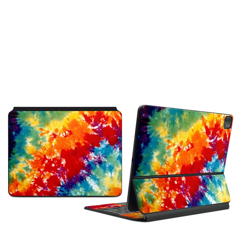 iPad Pro 12.9-inch Magic Keyboard Skin design of Orange, Watercolor paint, Sky, Dye, Acrylic paint, Colorfulness, Geological phenomenon, Art, Painting, Organism with red, orange, blue, green, yellow, purple colors