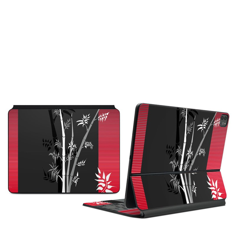 iPad Pro 12.9-inch Magic Keyboard Skin design of Tree, Branch, Plant, Graphic design, Bamboo, Illustration, Plant stem, Black-and-white with black, red, gray, white colors