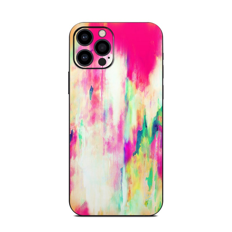 iPhone 12 Pro Skin design of Pink, Magenta, Art, Watercolor paint, Dye, Visual arts, Pattern, Modern art, Painting, Acrylic paint with red, white, green colors