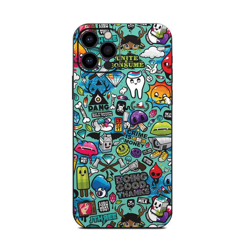 iPhone 12 Pro Skin design of Cartoon, Art, Pattern, Design, Illustration, Visual arts, Doodle, Psychedelic art with black, blue, gray, red, green colors