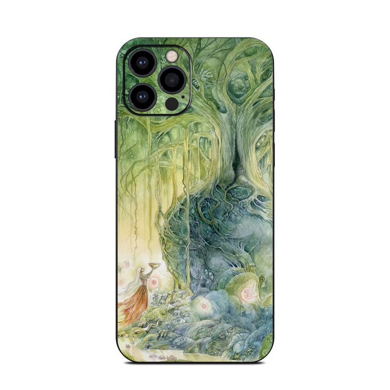 iPhone 12 Pro Skin design of Green, Watercolor paint, Painting, Water, Art, Illustration, Grass, Tree, Plant, Fictional character with blue, green, red, yellow colors