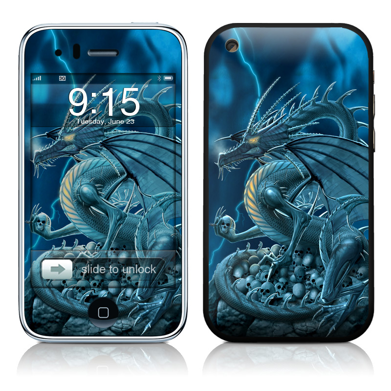 iPhone 3GS Skin design of Cg artwork, Dragon, Mythology, Fictional character, Illustration, Mythical creature, Art, Demon with blue, yellow colors