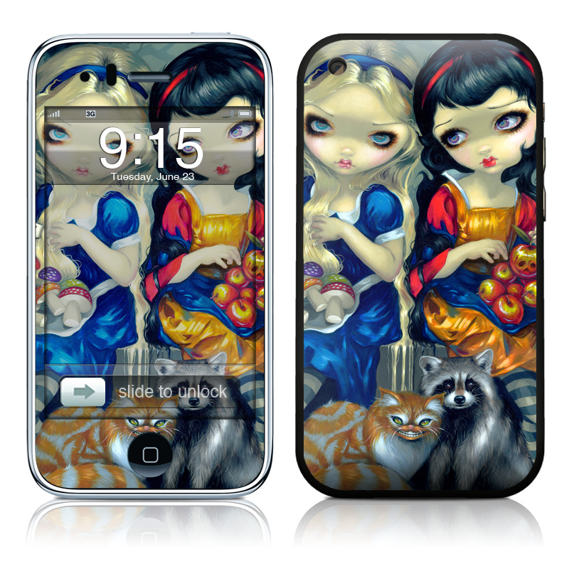 iPhone 3GS Skin design of Doll, Cartoon, Illustration, Cat, Art, Fawn, Toy, Fictional character, Whiskers with blue, yellow, red, orange, gray colors