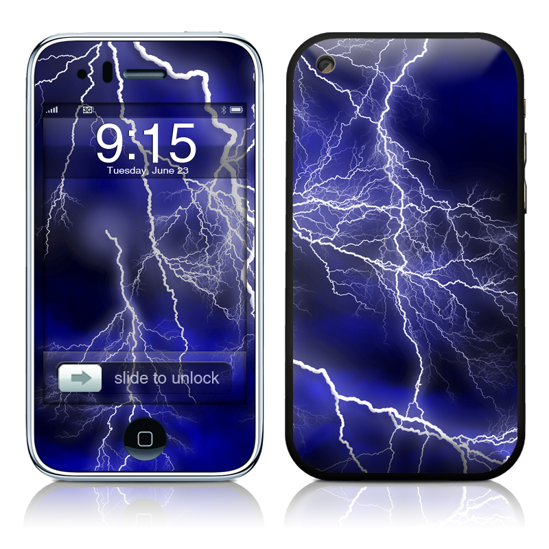 iPhone 3GS Skin design of Thunder, Lightning, Thunderstorm, Sky, Nature, Electric blue, Atmosphere, Daytime, Blue, Atmospheric phenomenon with blue, black, white colors