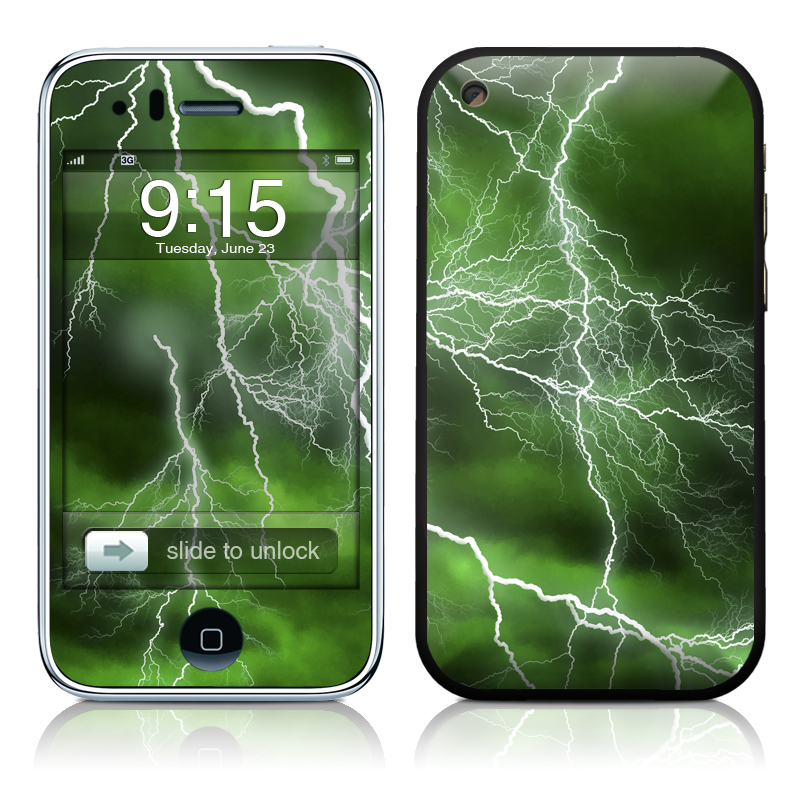 iPhone 3GS Skin design of Thunderstorm, Thunder, Lightning, Nature, Green, Water, Sky, Atmosphere, Atmospheric phenomenon, Daytime with green, black, white colors