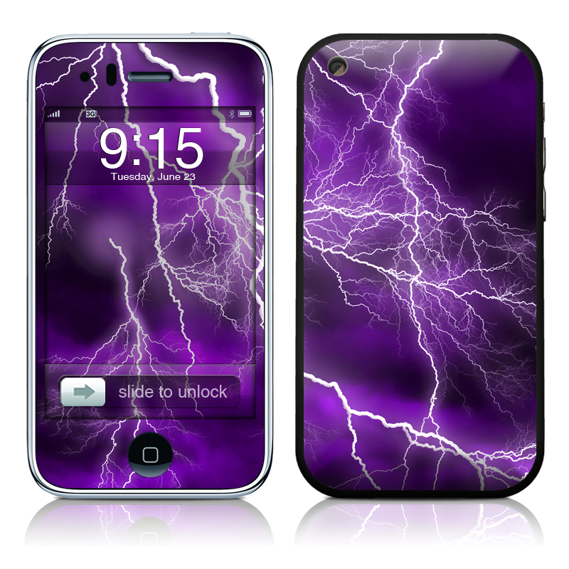 iPhone 3GS Skin design of Thunder, Lightning, Thunderstorm, Sky, Nature, Purple, Violet, Atmosphere, Storm, Electric blue with purple, black, white colors