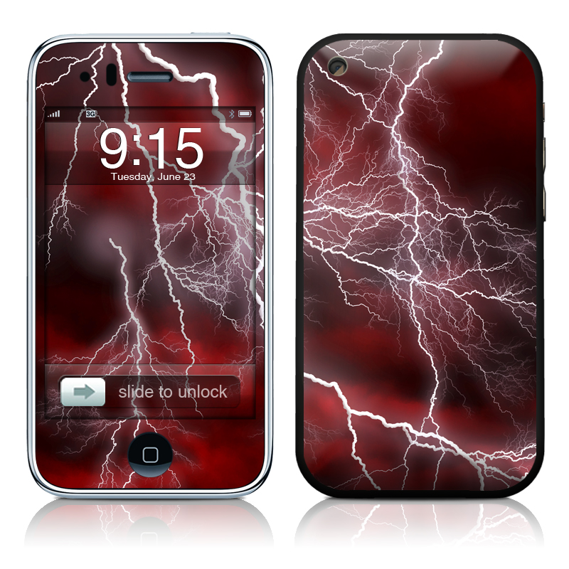 iPhone 3GS Skin design of Thunder, Thunderstorm, Lightning, Red, Nature, Sky, Atmosphere, Geological phenomenon, Lighting, Atmospheric phenomenon with red, black, white colors