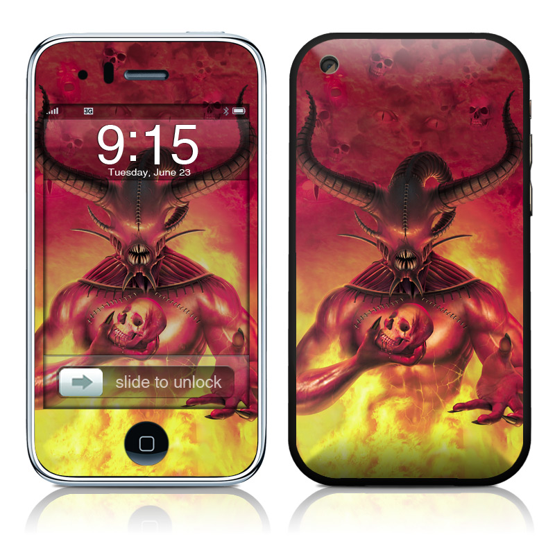 iPhone 3GS Skin design of Demon, Supernatural creature, Cg artwork, Mythology, Fictional character, Illustration, Horn, Cryptid, Warlord, Art with red, yellow, orange colors