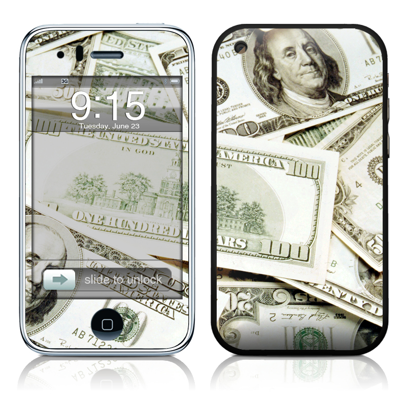 iPhone 3GS Skin design of Money, Cash, Currency, Banknote, Dollar, Saving, Money handling, Paper, Stock photography, Paper product with green, white, black, gray colors