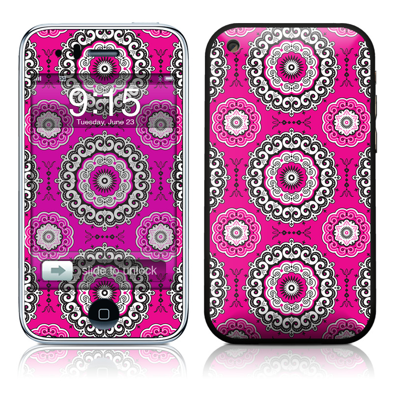 iPhone 3GS Skin design of Pattern, Pink, Magenta, Textile, Design, Visual arts, Circle, Motif, Pedicel with pink, white, black colors