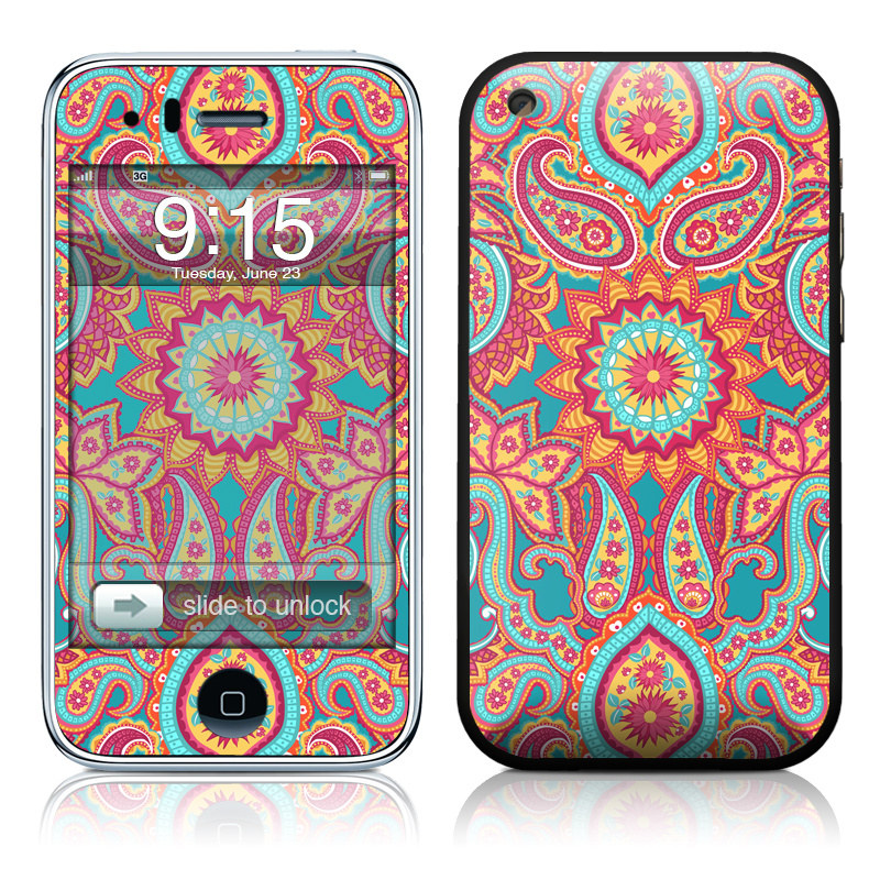 iPhone 3GS Skin design of Pattern, Paisley, Motif, Visual arts, Design, Art, Textile, Psychedelic art with orange, yellow, blue, red colors