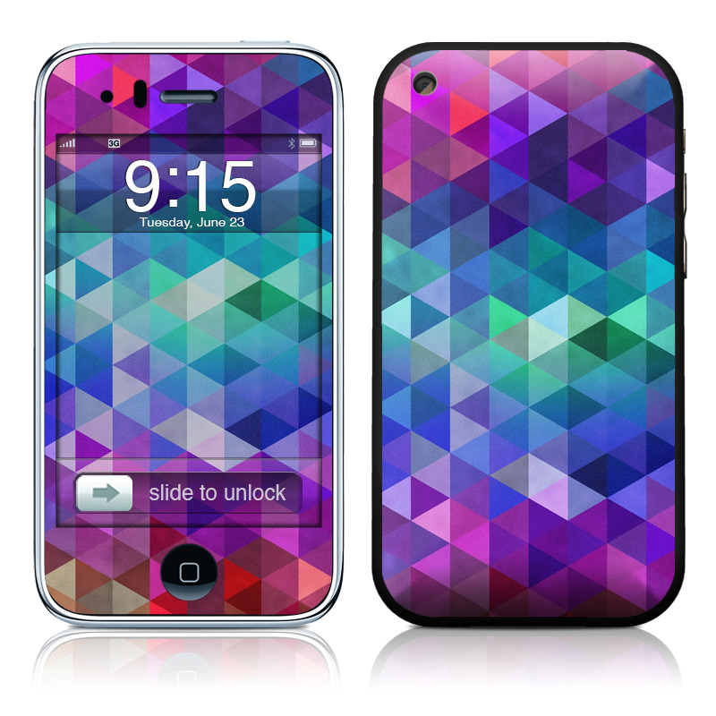 iPhone 3GS Skin design of Purple, Violet, Pattern, Blue, Magenta, Triangle, Line, Design, Graphic design, Symmetry with blue, purple, green, red, pink colors