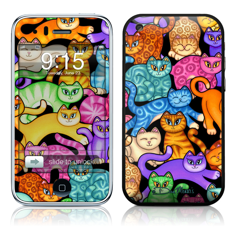 iPhone 3GS Skin design of Cat, Cartoon, Felidae, Organism, Small to medium-sized cats, Illustration, Animated cartoon, Wildlife, Kitten, Art with black, blue, red, purple, green, brown colors