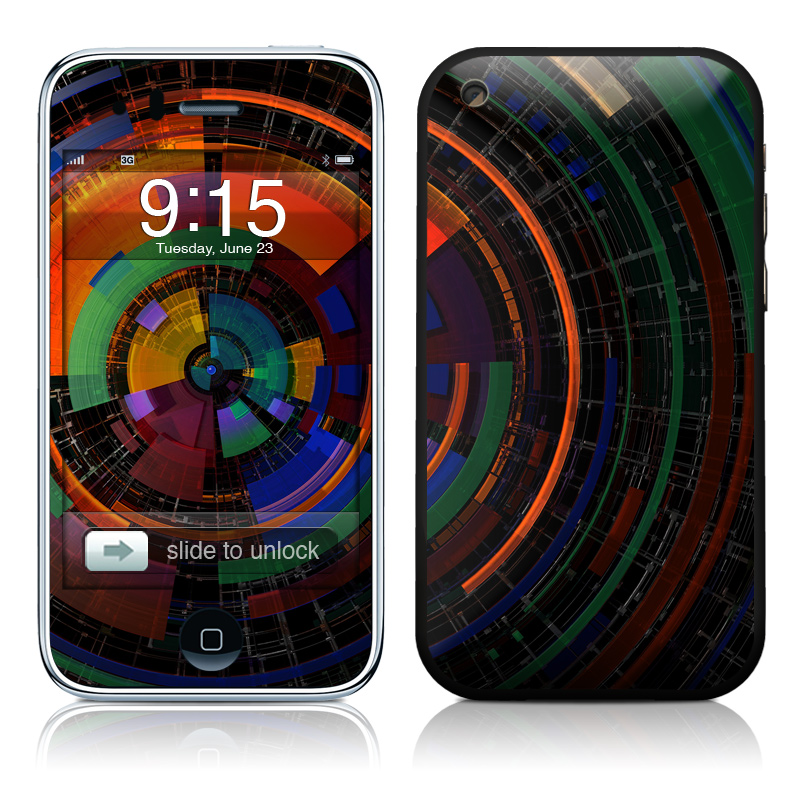 iPhone 3GS Skin design of Colorfulness, Pattern, Circle, Design, Architecture, Symmetry, Art, Spiral, Psychedelic art with black, red, blue, green, orange, brown colors