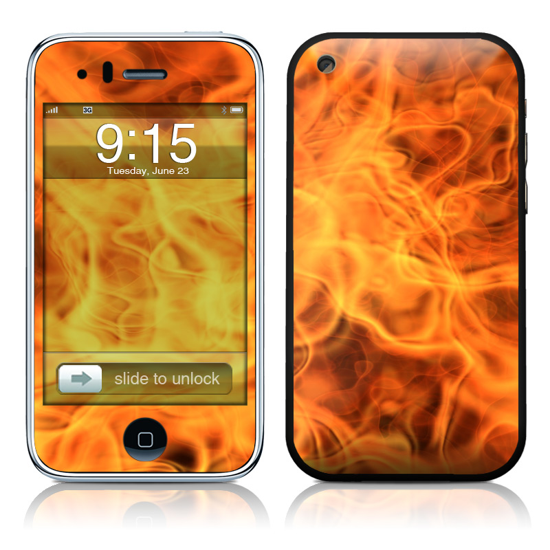 iPhone 3GS Skin design of Flame, Fire, Heat, Orange with red, orange, black colors