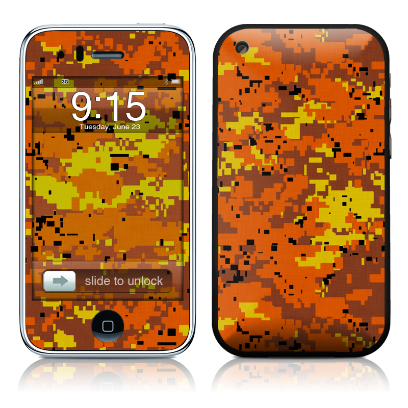 Digital Orange Camo iPhone 3GS Skin