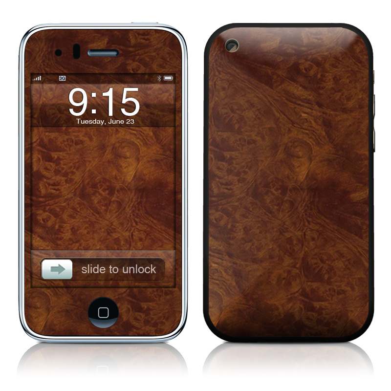 Dark Burlwood iPhone 3GS Skin