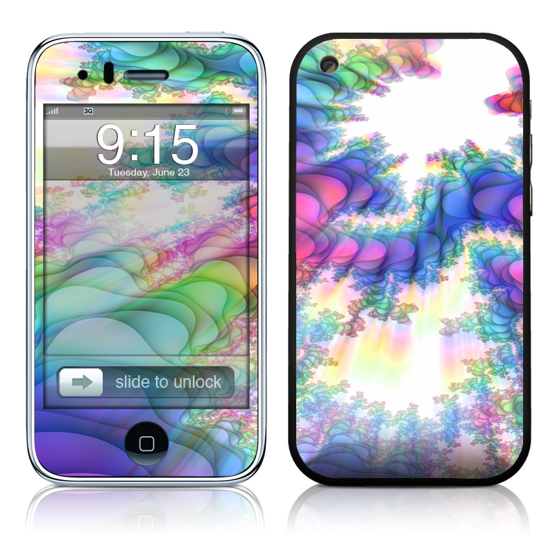 iPhone 3GS Skin design of Fractal art, Psychedelic art, Purple, Colorfulness, Art, Graphic design, Pattern, Graphics, Artwork, Symmetry with gray, white, blue, purple, pink colors